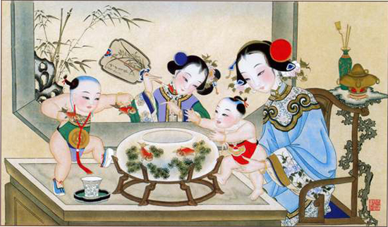 Peinture traditionnelle chinoise, poissons rouges